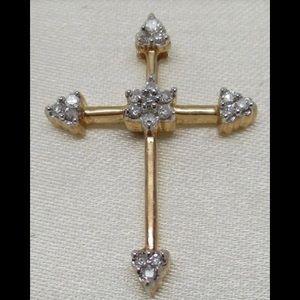 14k solid yellow gold diamond cross